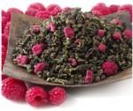 aromatizovaný oolong s malinami, obrázek sypaného čaje s kousky malin