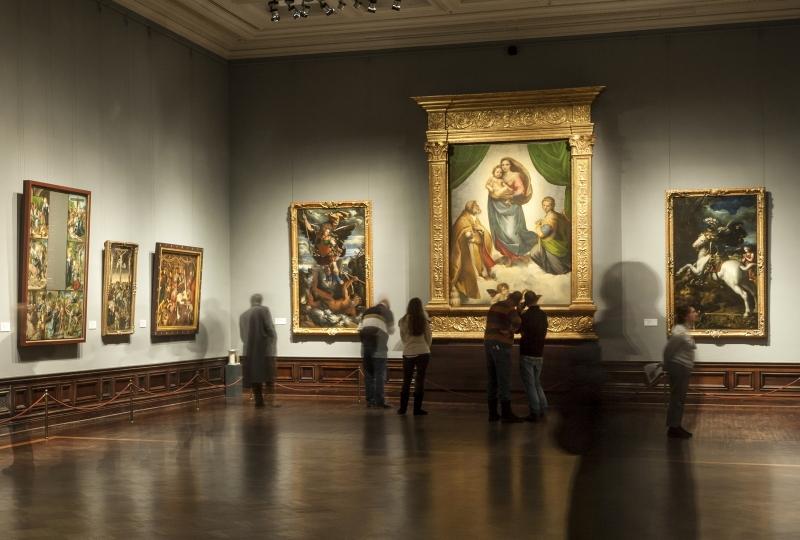 Na obrázku díla v expozici  obrazárny starých mistrů v Dráźďanech