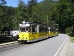 Na obrázku žlutí tramvaj jezdící v národním parku Saské Švýcarsko. Takzvaná Křinická tramvaj.