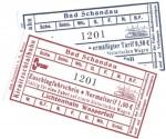 Na obrázku jízdenky na historické soupravy Křinické tramvaje jezdící v národním parku Saské švýcarsko