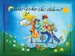 obrázek kam,paně Celé Česko čte dětem, na obrázku ilustrace dětí jedoucí po louce plné květin na kole s knihou v ruce