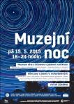 Plakát s popisem muzejní noci v muzeu skla a bižuterie Jablonec nad Nisou a muzeí v Liberci