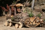 dřevěná mašinka v ekoparku liberec