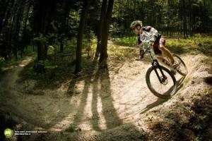 Cyklista na cyklostezce v lesích východní Moravy