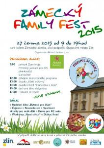 Plakát s pozvánkou na rodinný festival na zámku Zlín