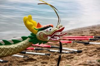 Dračí lodě, dvaceti-veslice s barevnou hlavou draka na přídi