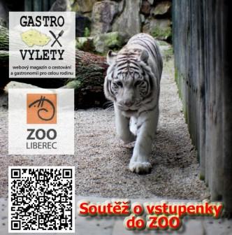 Plakátek s upoutávkou na soutěž o vstupenky do ZOO Liberec.Na plakátku logo ZOO Liberec, magazínu gastrovýlety, qr kód a fotka bílého tygra