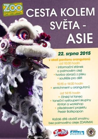 Plakátek na akci v ZOO Ústí nad Labem Cesta kolem světa -asie