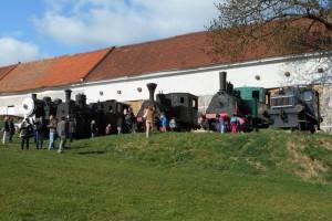 železniční muzeum Zlonice, venkovní expozice parních lokomotiv