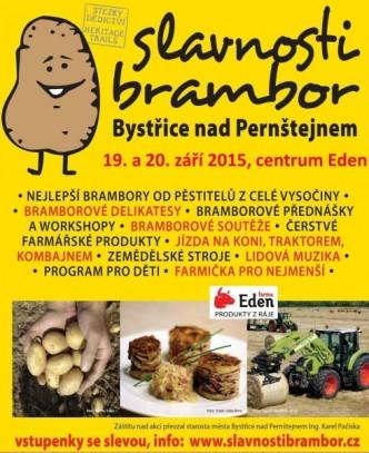 Plakátek s reklamou na gastro festival slavnosti Brambor v Bystřici nad Pernštejnem