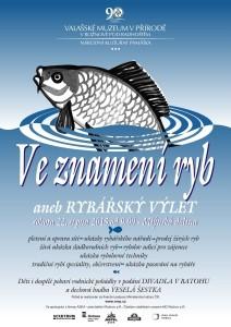 Plakát s obrázkem kapra zvoucí do Valašského muzea v přírodě na rybářský výlet