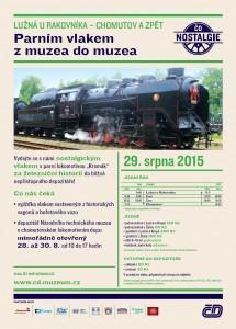 Plakátek zvoucí na akci výlet parním vlakem z železničního muzea v Lužné u Rakovníka do depa lokomotiv v Chomutově