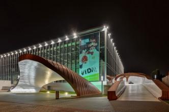 Budova science centra VIDA v Brně v noci