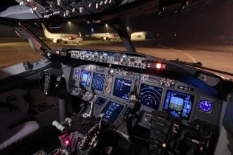 Kokpit letadla letecké společnosti Travel servis