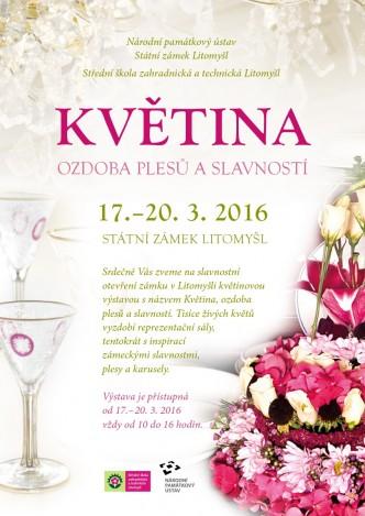 Plakát upozorňující na výstavu květin na zámku